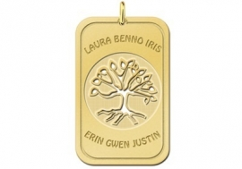 Names4ever Tree of Life Dog Tag Hanger van Goud + Graveer Tekst