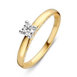 Excellent Jewelry Geelgouden Ring met Diverse Diamanten