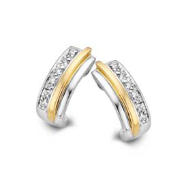 Excellent Jewelry Bicolor Rechte Oorstekers met Zirkonia Rij