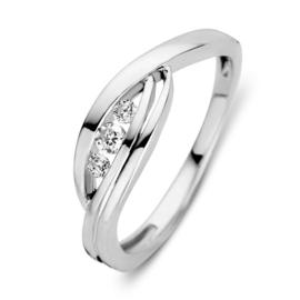 Excellent Jewelry Witgouden Ring met Fantasievol Kopstuk en Zirkonia's
