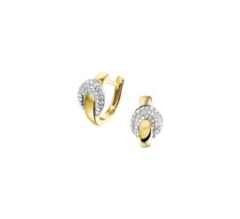 Geelgouden Klapcreolen met Witgouden Diamant 0.28 ct Ovaaltje