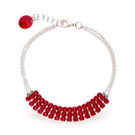Stylish Zilveren Armband met Rode Swarovski Kristallen
