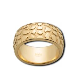 Brede Goudkleurige Ring met Reliëf Patroon van M&M