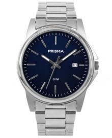 Elegante Heren Horloge van Zilverkleurig Edelstaal met Blauwe Wijzerplaat
