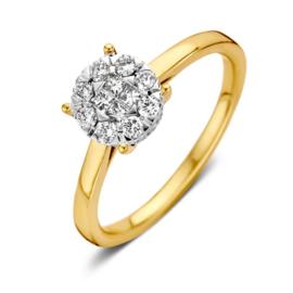 Excellent Jewelry Geelgouden Ring met Briljanten Kopstuk