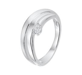 Matte met Gepolijste Zilveren Ring met Zirkonia
