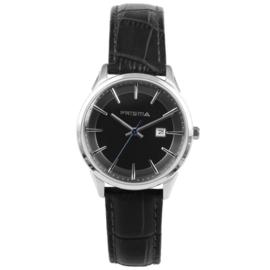 Prisma Dames Horloge met Zilverkleurige Kast en Zwart Lederen Band