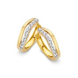 Excellent Jewelry Opengewerkte Geelgouden Creolen met Zirkonia Rij