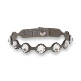 Dotty Tennis Grijze Lederen Armband met Swarovski Kristallen