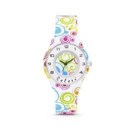 Wit Kids Horloge met Gekleurde Twist Afbeeldingen van Colori Junior