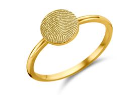 Gouden Disc Ring met Vingerafdruk | Names4ever