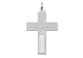 Names4ever Zilveren Kruishanger met Kaars Decoratie