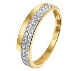 Geelgouden Dames Ring met Dubbele Zirkonia Rij