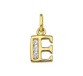 Alfabet Letter E Hanger van Geelgoud met Zirkonia's