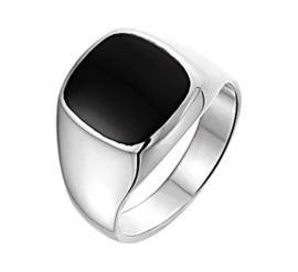 Gepolijst Zilveren Zegelring met Vierkante Zwarte Onyx Steen