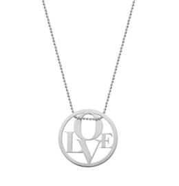 Super Stylish Zilveren Ketting met LOVE Munt Hanger