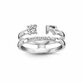 Nomelli Iniziali-Pietra Ring van Zilver