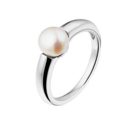 Bolle Zoetwaterparel Ring van Gerhodineerd Zilver