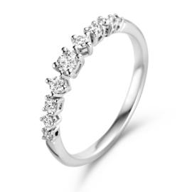 Excellent Jewelry Witgouden Ring met 0,32crt. Diamanten Rij