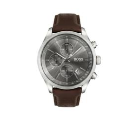 Hugo Boss Horloge Grand Prix Zilverkleurig Horloge met Bruine Band van Boss