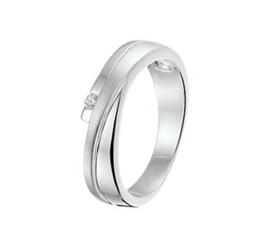 Moderne Glanzende met Matte Zilveren Ring met Zirkonia