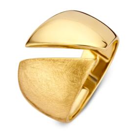 Excellent Jewelry Brede Geelgouden Ring met Opengewerkte Lijn