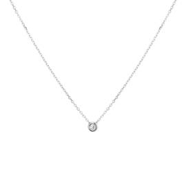 Witgouden Anker Collier met Elegante Ronde Diamant 0.03 ct Hanger