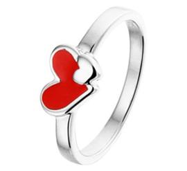 Zilveren Ring met Rood Emaille Hart met Kleiner Hart / Maat 14