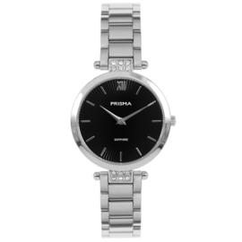 Zilverkleurig Dames Horloge met Parelmoer en Zirkonia's van Prisma