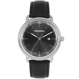 Zilverkleurig Edelstalen Heren Horloge met Zwarte Wijzerplaat en Lederen Horlogeband