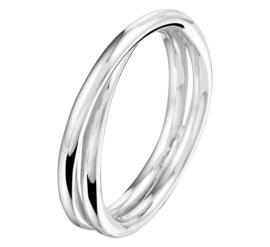 Zilveren Spiraal Ring met Rhodium