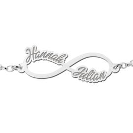 Hannah Julian Armband van Zilver met Infinity Naamhanger > Names4ever