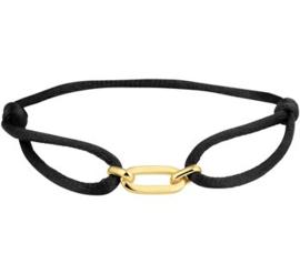 Zwarte Gevlochten Armband met Kleine Goudkleurige Schakel