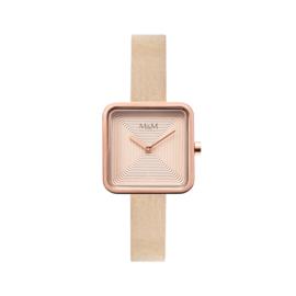 M&M Horloge met Roségoudkleurige Vierkante Kast
