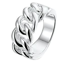 Glanzende Opengewerkte Schakelring van Gerhodineerd Zilver