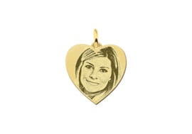 Mini Hartvormige Gouden Fotogravure Hanger van Names4ever