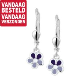 Elegante Zilveren Bloem Oorhangers met Paarse Emaille