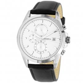 Prisma Horloge 1791 Heren Chronograaf Edelstaal met Saffier