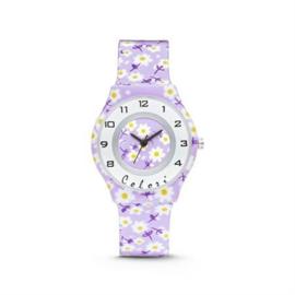 Lichtpaars Horloge voor Kids met Witte Bloemen van Colori Junior
