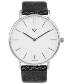 Opvallend Zilverkleurig Horloge met Lederen Horlogeband
