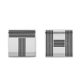 Vierkante Manchetknopen van Edelstaal met Zwarte Strepen van Tommy Hilfiger