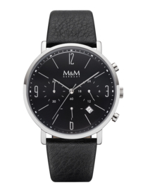 Zilverkleurig Heren Horloge met Zwart Lederen Horlogeband van M&M