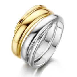 Excellent Jewelry Brede Gedraaide Bicolor Ring voor Dames