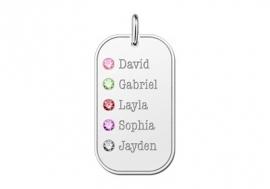 Geboortesieraad van Zilver met Vijf Namen Names4ever
