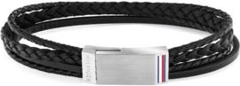 Gesplitste Zwart Lederen Armband voor Heren van Tommy Hilfiger