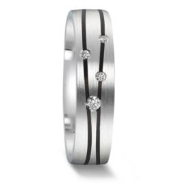 Matte Zilveren Dames Trouwring met Carbon Lijnen en Diamanten