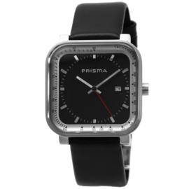 Vierkant Prisma Heren Horloge met Zwarte Wijzerplaat