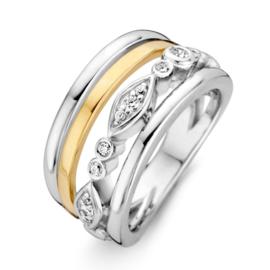 Excellent Jewelry Witgouden Decoratieve Ring met Geelgoud en Zirkonia's