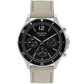 Prisma Zilverkleurig Heren Horloge met Crème Lederen Horlogeband
