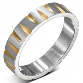 Zilver/Goud kleurige stalen ring - Graveer Ring SKU72548